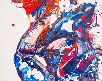 Psychedelic contemporary art acrylic original painting 12x16 Final Fantasy X 10 Yuna Blue red