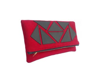 Red Suede Leather Mosaic Fold Over Clutch, Red Clutch, Fold Over Clutch, Foldover Clutch, Leather Handbag, Leather Clutch, Evening Clutch