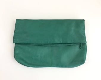 Vintage Emerald Green Foldover Clutch Purse