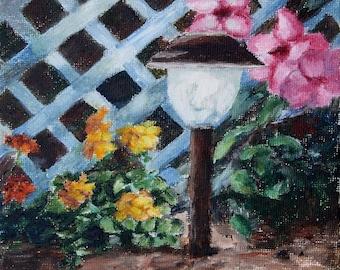 Nights Flower Garden Original Painting 6x8