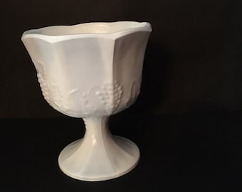 Milk Glass Harvest Pedestal Compote Indiana Glass Co Grapes and Leaves