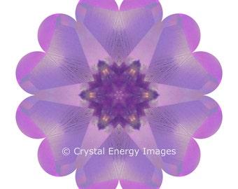 Lemurian Crystal, Mandala, 5x5 to 8x8 Mounted Photo, Energy, Spiritual Art, Yoga Art, Crystal, Rainbow, Meditation Art, Chakra Art, Reiki,