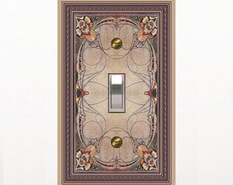 1124X - Art Deco Stained Glass (faux) Image - mrs butler switch plate covers - choose sizes / prices from drop down box