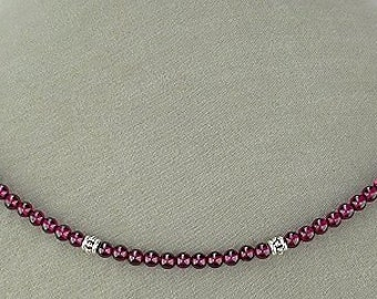 Garnet Necklace with Sterling Silver Accents and Silver Lobster Clasp - Gemstone Necklace - 16, 18, 20, or 22 inches