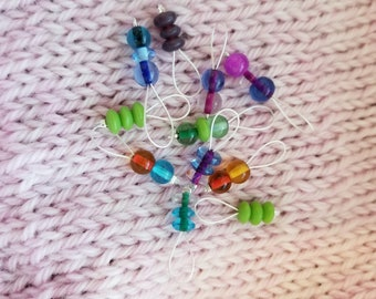 Stitch Markers. Lampshade Glass Beads