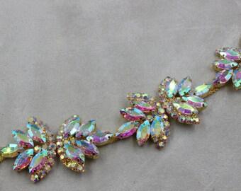 one yard applique trim, Bridal Applique, AV gold trim, crystal  rhinestone applique, crystal sash, bridal sash headband wedding headpiece