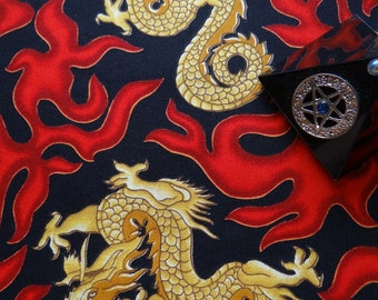 Handmade Altar Table Cloth Wiccan Pagan Metaphysical Celestial Fabric - Red Flame Dragon