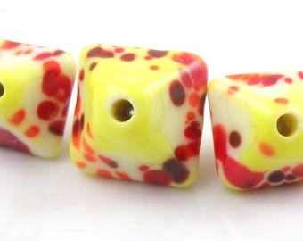 Summer Fire Crystal Trio SRA Lampwork Handmade Artisan Glass Donut/Round Beads Made to Order 15mm and 18mm