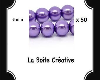 50 glass Pearl VIOLET LILAC purple 6 mm round beads