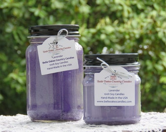LAVENDER SOY Mason Jar Candle - Lavender Candle, Floral Candle, Flowers Candle - Spring Candle, Summer Candle - Mother's Day Gift