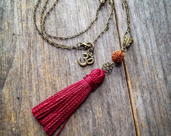 Bohemian chic Tassel necklace Guru bead mala inspired pendant boho meditation yoga jewelry by Creations Mariposa