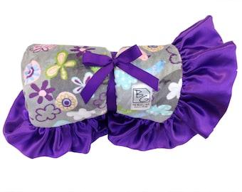 Springtime Stroller Blanket Purple/Gray/Pink