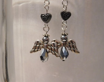 Angel with a heart earrings
