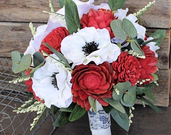 Red Keepsake Bridal Bouquet - Silk Flowers, Sola Flower Bouquet, Anemones, Eucalyptus, Wedding Flowers, Faux Flowers