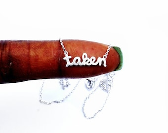 """Tiny Silver """"I'm Taken"""" Necklace - Dainty, Simple, Birthday Gift, Wedding Bridesmaid Gift"""