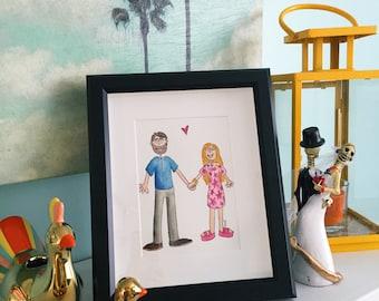 Custom Illustrated Portrait, Custom Illustrated Wedding Portrait, Watercolor Family Portrait, Watercolor Wedding Portrait