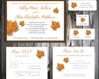 100 Fall Leaf Wedding Invitations, RSVP's, Reception Insert w/ FREE Calendar Stickers