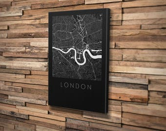 London Map Mounted Canvas. Modern Design. Personalised Map Print.