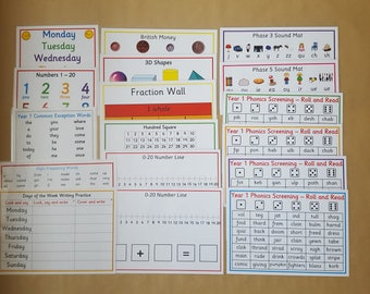 Year 1 Learning Bundle - 3D shapes, key words, fractions, phonics screening, days of the week, numbers, teaching resource, educational