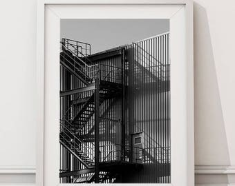 Stairs to Nowhere, Abstract Architecture Urban Street Photography | Large Printable Modern Minimalist Art | Black and White Architectural