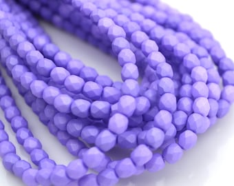 Saturated Purple 4mm Fire Polish Round Czech Glass Beads  50