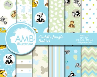 80%OFF Nursery digital papers, Jungle digital papers, Nursery scrapbook papers, Chevron papers, Jungle animals, commercial use, AMB-1334