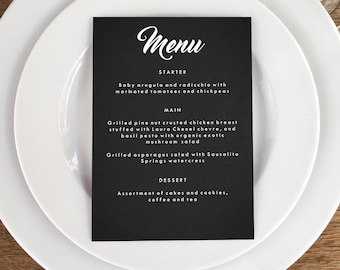 Retro Chalkboard Printable Menu Template - Wedding Menu - Black Menu -  Printable Menu Template - Menu Template - Menu Cards - Menu Card PDF