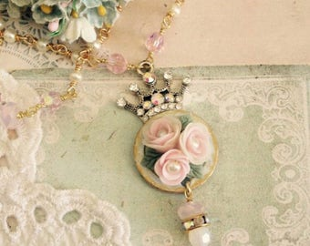 sweet crown necklace with crystals handmade porcelain flowers and pearls #1027-17