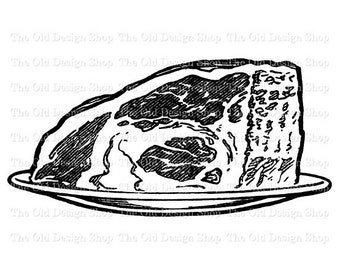 Roast Beef Vintage Food Printable Clip Art Digital Stamp Transfer Image