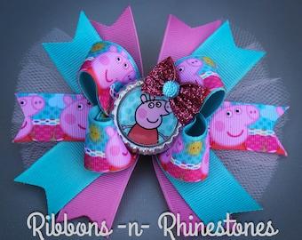Peppa Pig Bow, Peppa Pig Party Bow, Peppa Pig Hair Bow, Peppa Pig Gift, Peppa Pig Stocking Stuffer, Peppa Pig Hair Bow, Peppa Pig