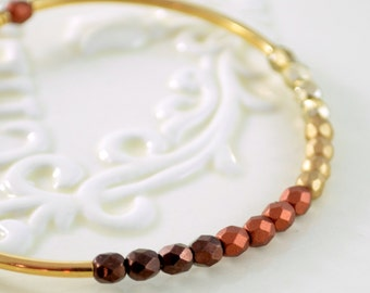 Gold Plated Bangle, Copper Espresso Chocolate Brown Matte Czech Glass, Beaded Stacking Bracelet, Neutral Jewelry