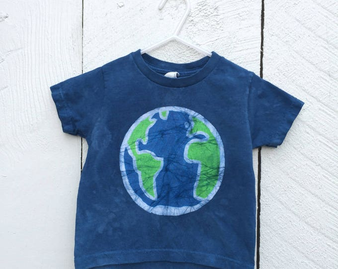 Featured listing image: Kids Earth Day Shirt, Blue Earth Kids Shirt, Boys Earth Shirt, Girls Earth Shirt, Batik Earth Day Shirt, Toddler Earth Day Shirt