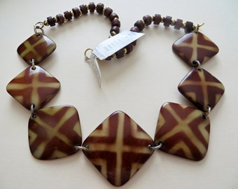 Vintage Designer Necklace Chunky Bold Abstract African Motive Tan Butterscotch Robert Rose