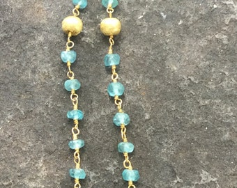 Blue Quartz Rosary Chain Dangle Earrings   Wedding Jewelry  Something Blue  Bridal Jewelry   Sundance Style    originally 78 dollars now 62