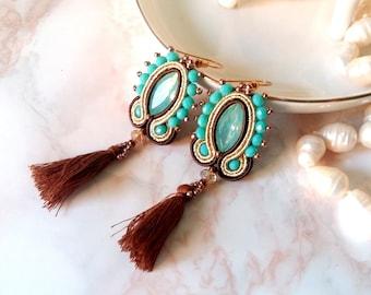 Dangle long soutache earrings - statement tassel crystal earrings - gold brown earrings - soutache jewelry - gift for her best friend gift
