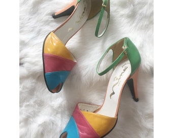 Vintage 1950s-60s Bright Colored peep toe Nina High Heels - Sz 7