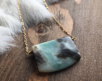 Amazonite Rectangular Slab Necklace
