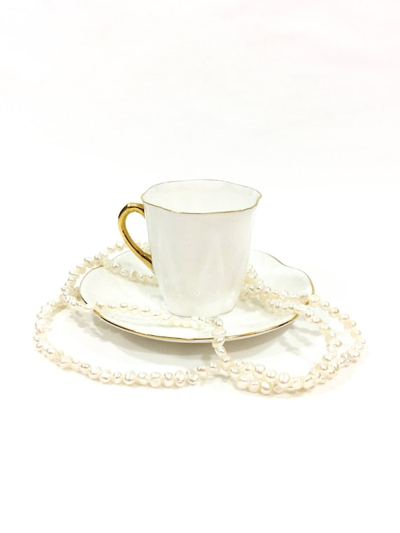 Shelley Dainty Demitasse Cup, White & Gold Regency Pattern, Tea Party High Tea, Fancy Bone China Demitasse Cup, Vintage English Teacup