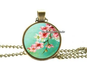 Cherry Blossoms Sakura Jewelry, Vintage Cherry Blossoms Pendant, turquoise pink, key chain key ring key fob