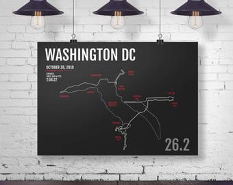 Washington DC Marathon Print - 2018 or 2017 Personalized Poster, MCM Marathon Map, Runner Gift, Gifts for Runners, Marine Corps Running