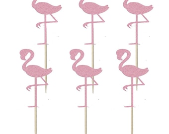 Flamingo shaped Cupcake Toppers, Cake Topper, Cake Decoration