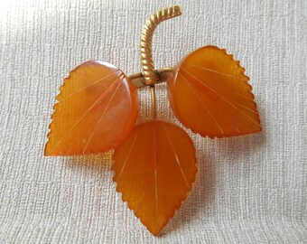 Natural  Baltic Vintage Amber Antique Brooch. Made in USSR.