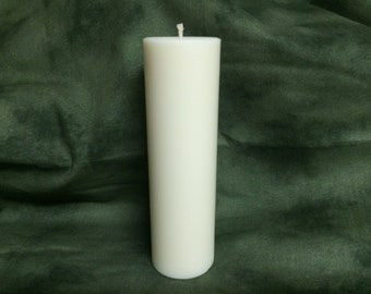 2 x 6.5 Inch - Pure Soy Pillar Candle - Cream/White Unscented