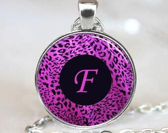 Letter F - Purple Leopard Print Monogram Handcrafted  Necklace Pendant (PD0084)