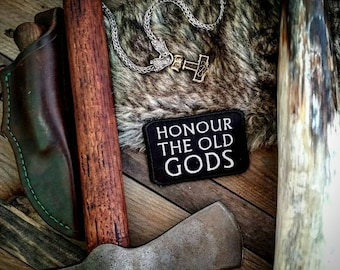Honour The Old Gods Patch biker heathen norse pagan biker asatru wicca sew on embroidered badge