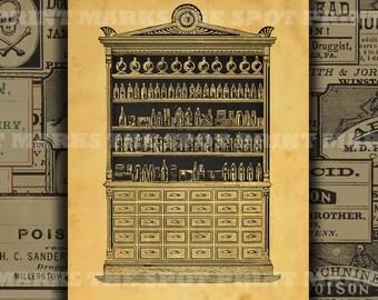 1800's Vintage Apothecary Cabinet Digital Download Background Collage Sheet Old Pharmacy Drugstore Druggist General Store Jar Bottle Labels