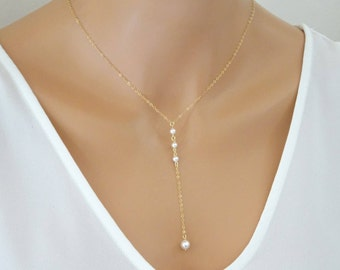 Pearl necklace, Simple Pearl lariat necklace, Bridal jewelry, wedding Bridesmaid Necklace, Sterling silver, Gold fill, Rose gold