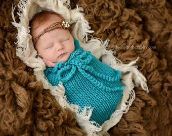 Aqua Blue Swaddle Sack Newborn Baby Photography Prop