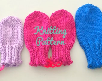 Baby Mittens Knitting Pattern - Toddler Mittens Pattern - Pattern for Thumbless Mittens - No Scratch Mittens Pattern - Knit Infant Mittens