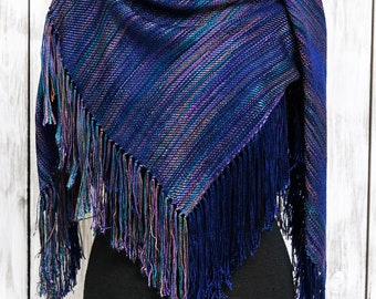 Shawl With Fringe - Handwoven Shawl - Gift For Her - Blanket Scarf - Handwoven Scarf - Wrap With Fringe - Tencel Shawl - Tencel Wrap